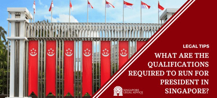 "Featured image for the ""What are the qualifications required to run for President in Singapore?"" article. It features Singapore flags in front of the Singapore Istana park."