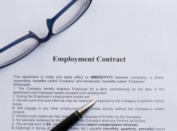 39963784 - employment contract  on the white paper with pen
