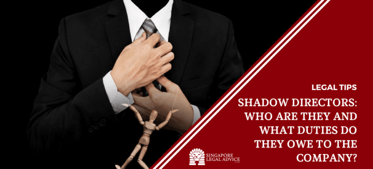 "Featured image for the ""Shadow Directors - Who are They and What Duties Do They Owe to the Company?"" article. It features a man in a business suit with his hands on his tie, with a wooden puppet in front of him."