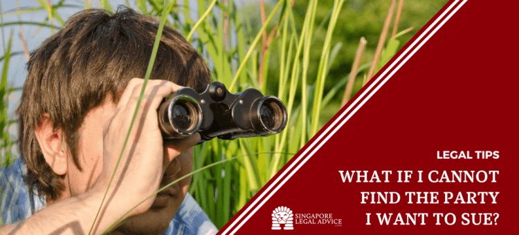 "Featured image for the ""What if I cannot find the party I want to sue?"" article. It features a man using a pair of binoculars as he lies in a field."