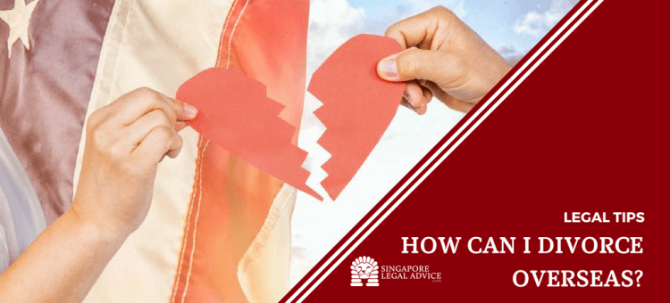 "Featured image for the ""How can I divorce overseas?"" article. It features two hands each holding one half of a heart broken into two, superimposed over an image of the American flag."