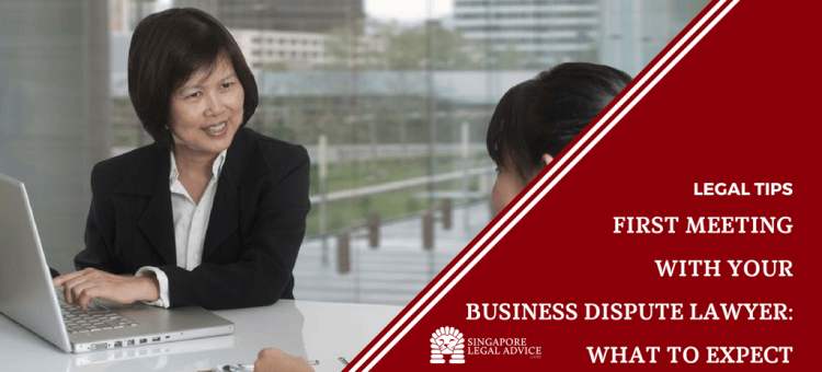 """Featured image for the """"First Meeting With Your Business Dispute Lawyer: What to Expect"""" article. It features a lawyer taking notes on her laptop while a client explains her situation to her."""