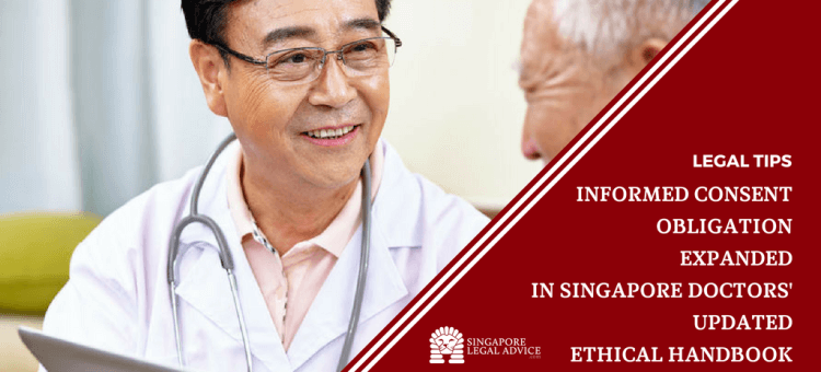"Featured image for the ""Informed Consent Obligation Expanded in Singapore Doctors' Updated Ethical Handbook"" article. It features a doctor smiling as he discusses a matter with an elderly patient."