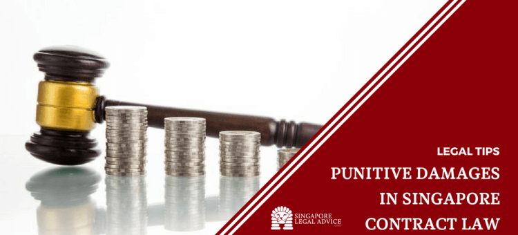 "Featured image for the ""Punitive Damages in Singapore Contract Law"" article. It features a gavel behind stacked piles of coins."