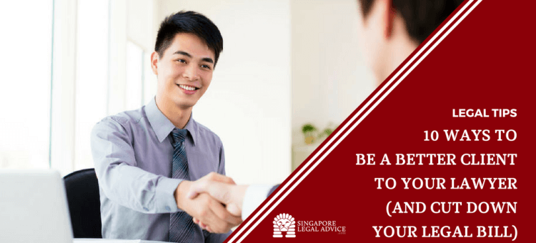 "Featured image for the "" 10 Ways to Be a Better Client to Your Lawyer (and Cut Down Your Legal Bill)"" article. It features a young businessman smiling as he shakes his lawyer's hand."