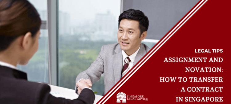 "Featured image for the ""Assignment and Novation: How to Transfer a Contract in Singapore"" article. It features a businessman shaking hands with a businesswoman after a successful assignment of contract."