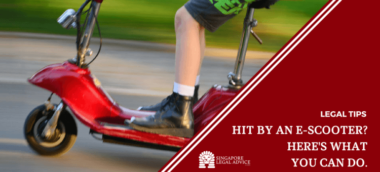 """Featured image for the """"Hit By an E-Scooter? Here's What You Can Do."""" article. It features a boy zipping past on his e-scooter."""