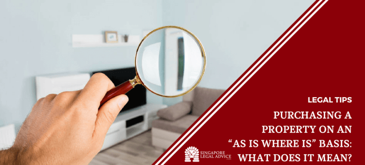 """Featured image for the """"Purchasing a Property on an """"As Is Where Is"""" Basis: What Does it Mean?"""" article. It features a hand holding a magnifying glass in front of a living room."""