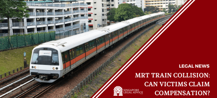 "Featured image for the ""MRT Train Collision: Can Victims Claim Compensation?"" article. It features an MRT train on the tracks."