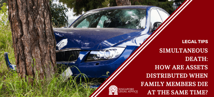 "Featured image for the ""Simultaneous Death: How are Assets Distributed When Family Members Die at the Same Time?"" article. It features a car smashed against a tree trunk."