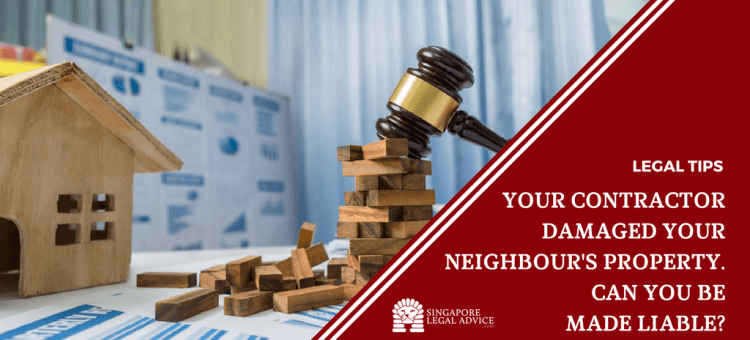 "Featured image for the ""Your Contractor Damaged Your Neighbour's Property. Can You Be Made Liable?"" article. It features a judge's gavel on top of a pile of wooden blocks. There is a wooden house on the left of the block pile."