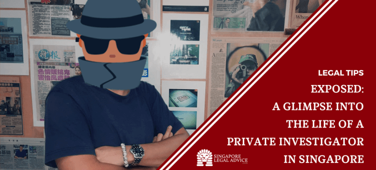 "Featured image for the ""Exposed: A Glimpse into the Life of a Private Investigator in Singapore"" article. It is a photo of private investigator Mr James Loh standing against a wall of newspaper articles featuring him. His face is obscured by a detective face emoji."