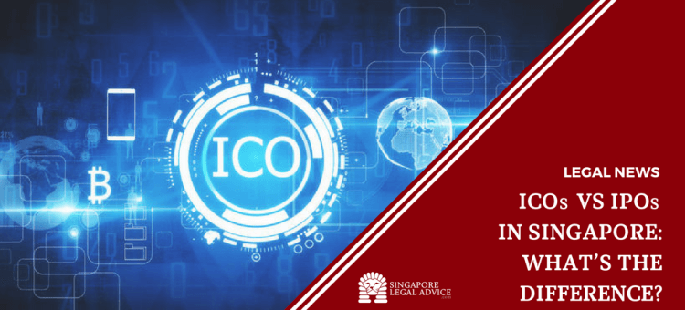 "Featured image for the ""ICOs v IPOs in Singapore: What's the Difference?"" article. It features the word ""ICO"" against a glowing blue background."