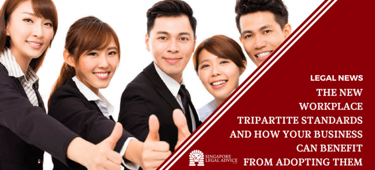 "Featured image for the ""The New Workplace Tripartite Standards and How Your Business Can Benefit from Adopting Them"" article. It features a group of smiling businessmen giving thumbs-up."