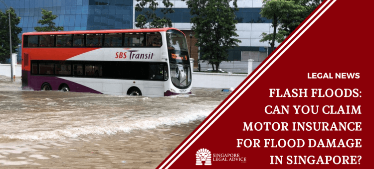 "Featured image for the ""Flash Floods: Can You Claim Motor Insurance for Flood Damage in Singapore?"" article. It features a double-decker bus driving through a flooded road in Singapore."