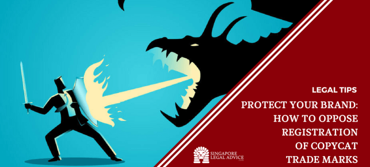"Featured image for the ""Protect Your Brand: How to Oppose Registration of Copycat Trade Marks"" article. It features a man holding a sword and defending himself with a shield as a dragon breathes fire at him. It represents a business owner protecting his brand from a competitor trying to register a copycat trade mark."