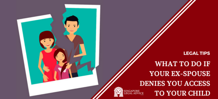 "Featured image for the ""What to Do If Your Ex-Spouse Denies You Access to Your Child"" article. It features a family photo torn in half, with the mother and child in one half and the father in the other half."
