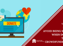 "Featured image for the ""5 Tips to Avoid Being Scammed When Donating through Crowdfunding Sites"" article. It has graphics of: a computer screen with the word ""DONATE"", a heart above a globe, and a hand holding a dollar note."