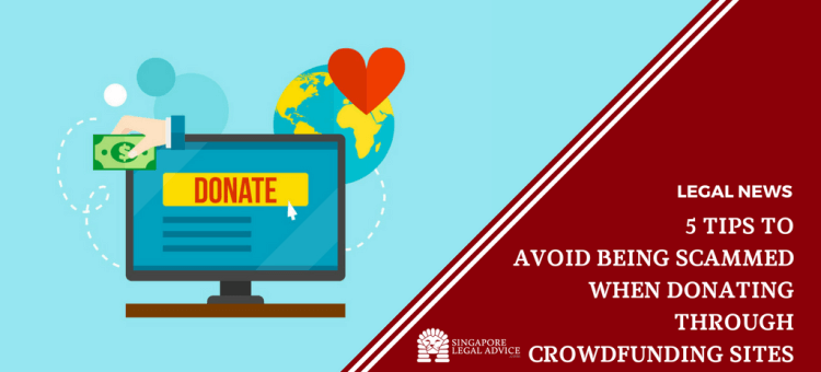 """Featured image for the """"5 Tips to Avoid Being Scammed When Donating through Crowdfunding Sites"""" article. It has graphics of: a computer screen with the word """"DONATE"""", a heart above a globe, and a hand holding a dollar note."""
