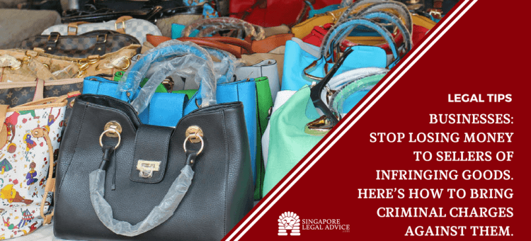 "Featured image for the ""Businesses: Stop Losing Money to Sellers of Infringing Goods. Here's How to Bring Criminal Charges against Them."" article. It is a picture of fake handbags put out for sale."