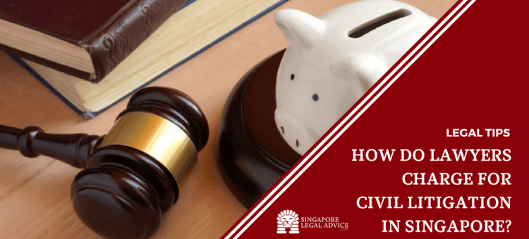 "Featured image for the ""How Do Lawyers Charge for Civil Litigation in Singapore?"" article. It features a piggy bank, some books and a gavel."