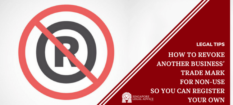 "Featured image for the ""How to Revoke Another Business' Trade Mark for Non-Use So You Can Register Your Own"" article. It features a registered trade mark symbol that has been cancelled out."