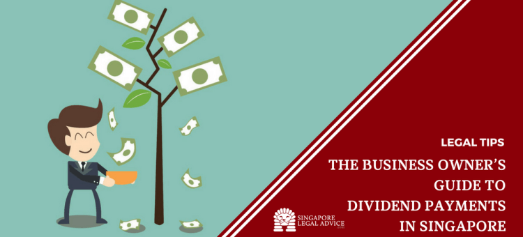 """Featured image for the """"The Business Owner's Guide to Dividend Payments in Singapore"""" article. It features a businessman collecting money that's growing on a tree."""