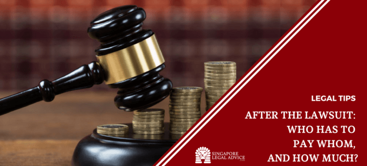 """Featured image for the """"After the Lawsuit: Who Has to Pay Whom, and How Much?"""" Article. It features coins and a gavel."""
