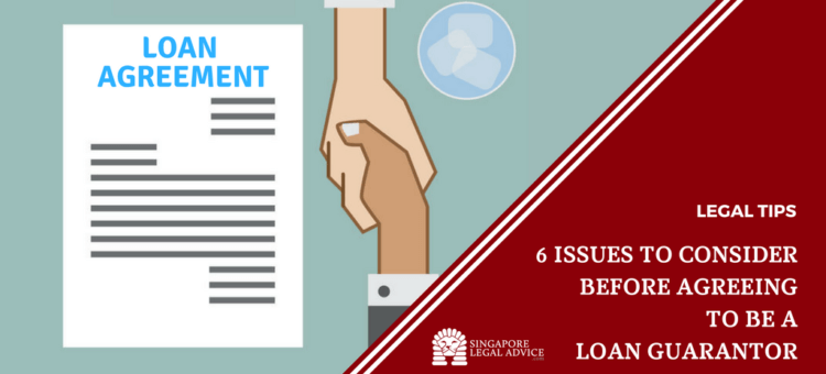 "Featured image for the ""6 Issues to Consider Before Agreeing to be a Loan Guarantor"" article. It features to men shaking hands after signing a loan agreement document."