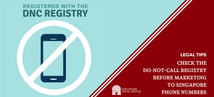 "Featured image for the ""Check the Do-Not-Call Registry Before Marketing to Singapore Phone Numbers"" article. It features a handphone with the 'no' sign stating that its registered with the dnc registry."