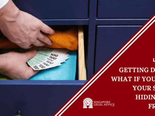 """Featured image for the """"Getting Divorced: What If You Suspect Your Spouse is Hiding Assets From You"""" article. It features a man hiding money in a drawer."""