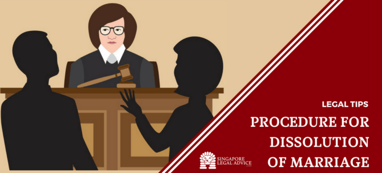 "Featured image for the ""Procedure for Dissolution of Marriage"" article. It features a divorce couple speaking to a judge in court."