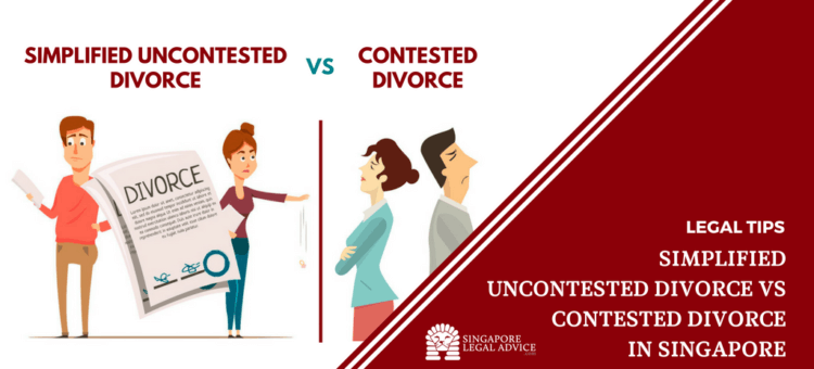 "Featured image for the ""Simplified Uncontested Divorce vs Contested Divorce in Singapore"" article. It features a couple with a dvorce and another couple refusing to talk to one another."