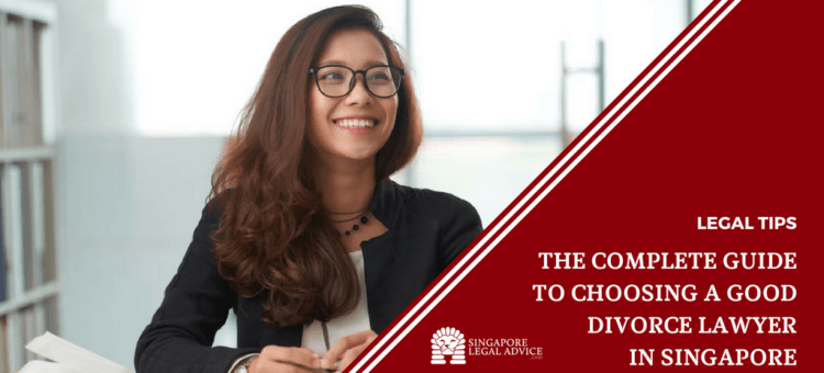 "Featured image for the ""The Complete Guide to Choosing a Good Divorce Lawyer in Singapore"" article. It features a smiling lawyer at her desk."