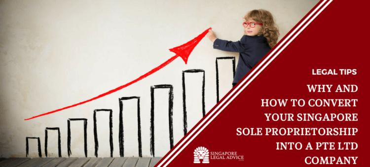 "Featured image for the ""Why and How to Convert Your Singapore Sole Proprietorship Into a Pte Ltd Company"" article. It features a growth chart with a child drawing an upwards arrow above it."