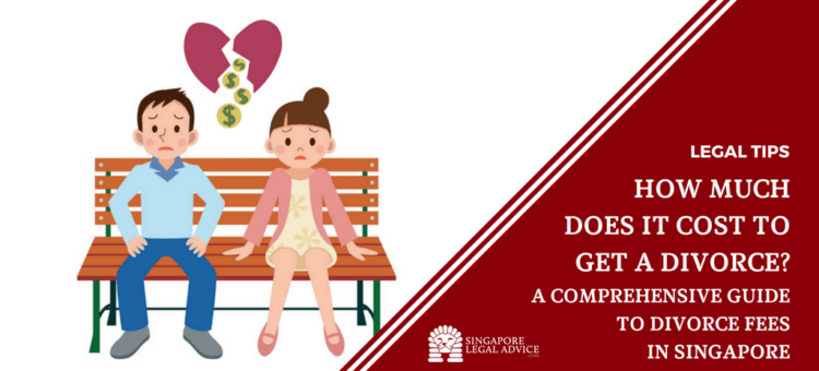 "Featured image for the ""How Much Does It Cost to Get a Divorce? A Comprehensive Guide to Divorce Fees in Singapore"" divorce fee guide. It features a couple sitting on a bench. A broken heart that is bleeding coins floats above their heads."