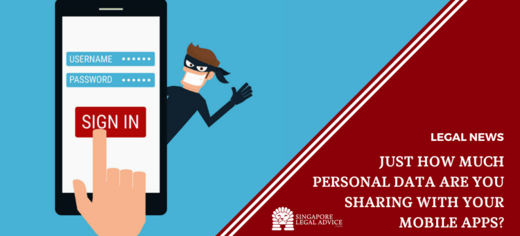 "Featured image for the ""Just How Much Personal Data are You Sharing with Your Mobile Apps?"" article. It features a person signing in on his mobile and a thief looking to still the data."
