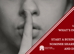 "Featured image for the ""What's in a Name: How to Start a Business with Nominee Shareholders and Directors"" article. It features a woman with her finger to her lips to keep silent."