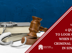 "Featured image for the ""4 Qualities to Look Out For When Hiring a Criminal Lawyer in Singapore"" article. It features law books, handcuffs, and a gavel."