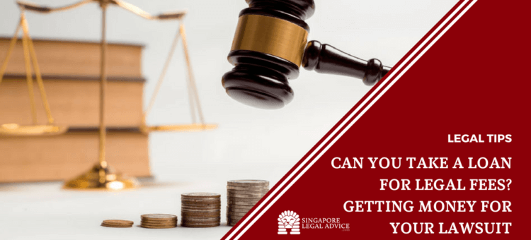 "Featured image for the ""Can You Take a Loan for Legal Fees - Getting Money for Your Lawsuit"" article. It features a gavel and a pile of coins with a pair of scales in the background."