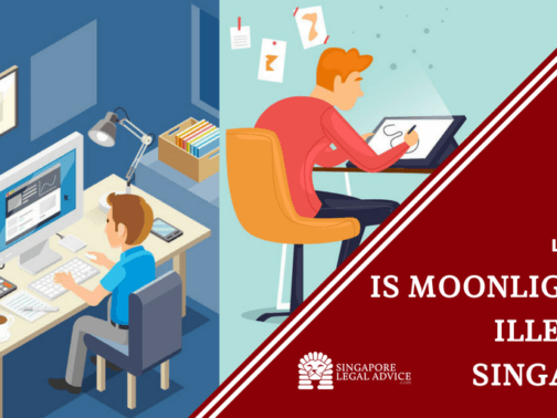 """Featured image for the """"Is Moonlighting Illegal in Singapore?"""" article. It features an employee working in an office and freelancing as well."""