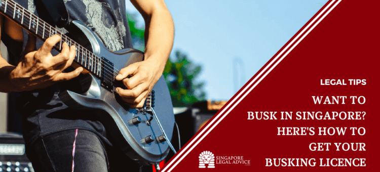 "Featured image for the ""Want to Busk in Singapore? Here's How to Get Your Busking Licence"" article. It features a guitarist playing his electric guitar outdoors."