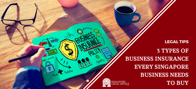 """Featured image for the """"3 Types of Business Insurance Every Singapore Business Needs to Buy"""" article. It features a man looking at a business policy."""