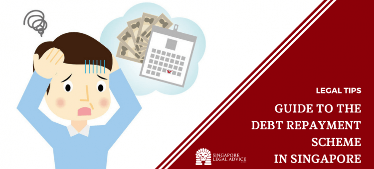 "Featured image for the ""What is the Debt Repayment Scheme? Guide to DRS in Singapore"" article. It features a man panicking as his debt repayment date approaches."