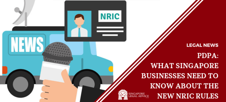 A news van and reporter talking about NRIC rules.