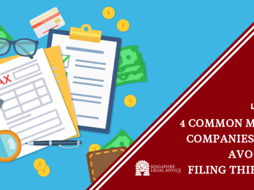 """Featured Image for the """"4 Common Mistakes Companies Should Avoid When Filing Their Taxes"""" article. It features a top view of taxes, papers, money, a calculator and a pen."""