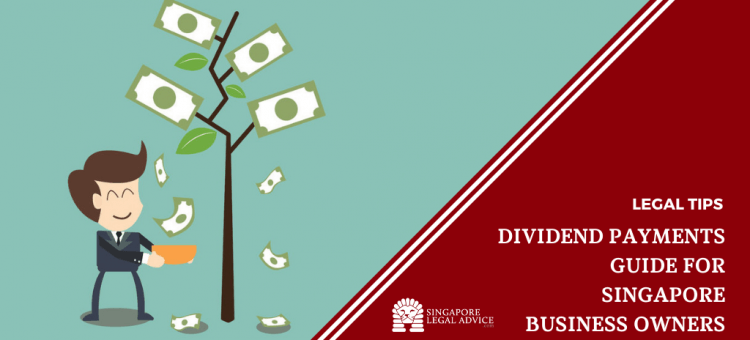 "Featured image for the ""The Business Owner's Guide to Dividend Payments in Singapore"" article. It features a businessman collecting money that's growing on a tree."