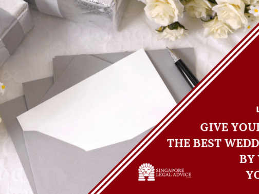 wedding gift with documents and pen.