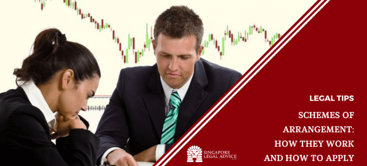 "Featured image for the ""What is a Scheme of Arrangement, How it Works and How to Apply for One"" article. It features two worried-looking businessmen sitting at a table with a chart of dropping stock prices behind them."