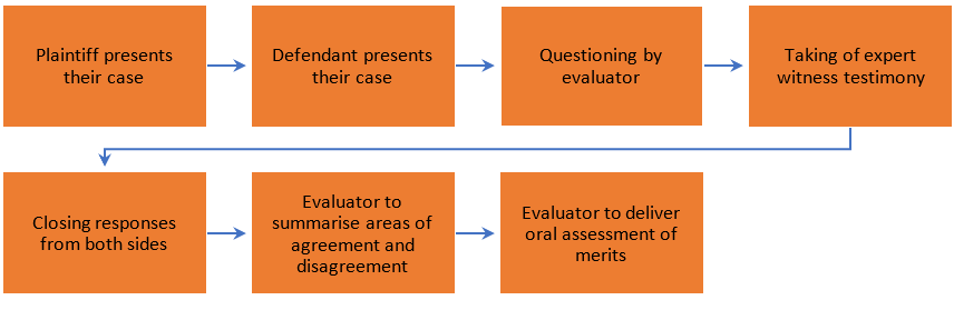 1. Plaintiff presents their case; 2. Defendant presents their case; 3. Questioning by evaluator; 4. Taking of expert witness testimony; 5. Closing responses from both sides; 5. Evaluator to summarise areas of agreement and disagreement; 6. Evaluator to deliver oral assessment of merits